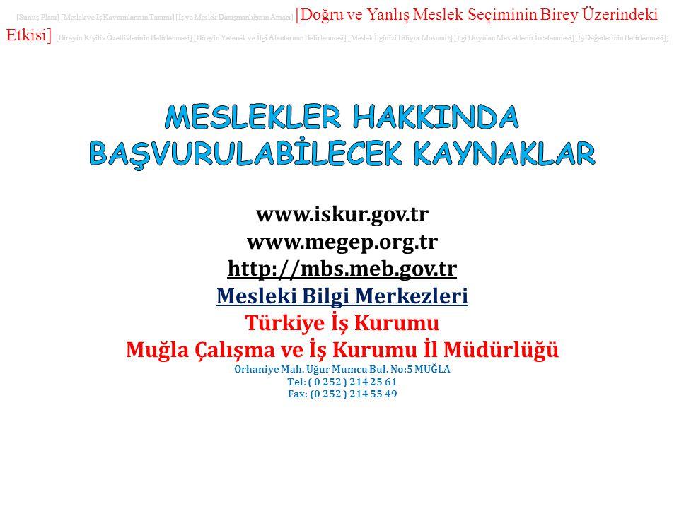 www.iskur.gov.tr www.megep.org.tr http://mbs.meb.gov.tr Mesleki Bilgi Merkezleri Türkiye İş Kurumu Muğla Çalışma ve İş Kurumu İl Müdürlüğü Orhaniye Ma