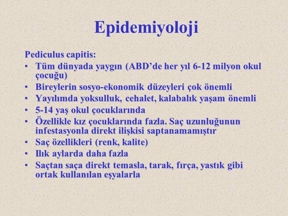 Epidemiyoloji Pediculus capitis: Tüm dünyada yaygın (ABD'de her yıl 6-12 milyon okul çocuğu)Tüm dünyada yaygın (ABD'de her yıl 6-12 milyon okul çocuğu