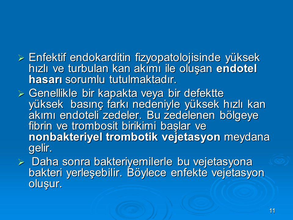 11  Enfektif endokarditin fizyopatolojisinde yüksek hızlı ve turbulan kan akımı ile oluşan endotel hasarı sorumlu tutulmaktadır.  Genellikle bir kap