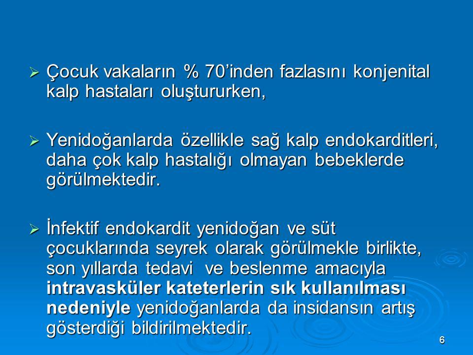 6  Çocuk vakaların % 70'inden fazlasını konjenital kalp hastaları oluştururken,  Yenidoğanlarda özellikle sağ kalp endokarditleri, daha çok kalp has