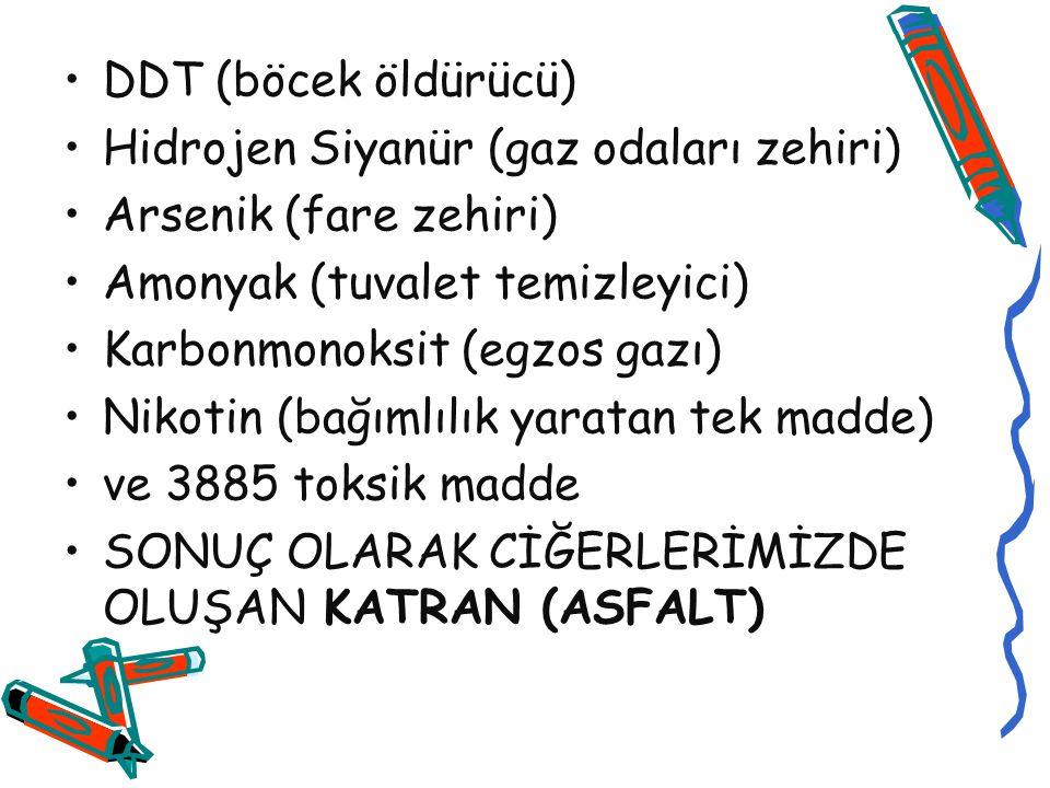 DDT (böcek öldürücü) Hidrojen Siyanür (gaz odaları zehiri) Arsenik (fare zehiri) Amonyak (tuvalet temizleyici) Karbonmonoksit (egzos gazı) Nikotin (ba