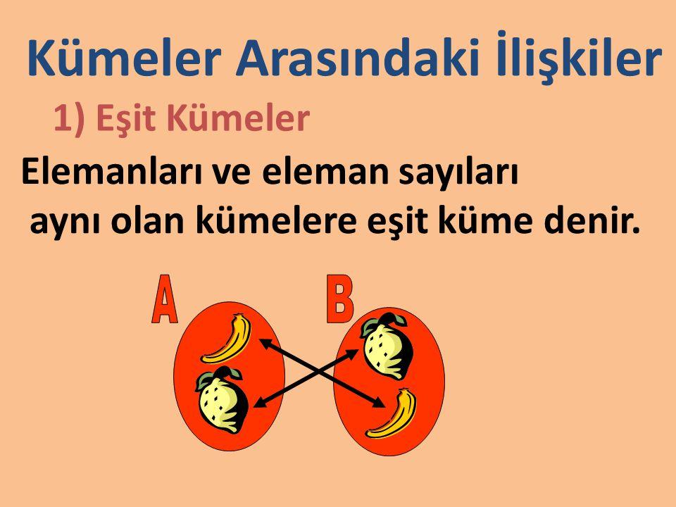 2) Denk Kümeler Elemanları bire bir eşlenebilen Kümelere denk küme denir.