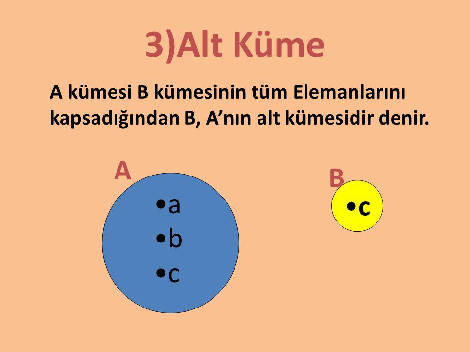 Kümelerde İşlemler A B a b c d 1)Kümelerde Birleşim A nın elemanlarından veya B nin elemanlarından oluşan kümeye bu iki kümenin birleşim kümesi denir.