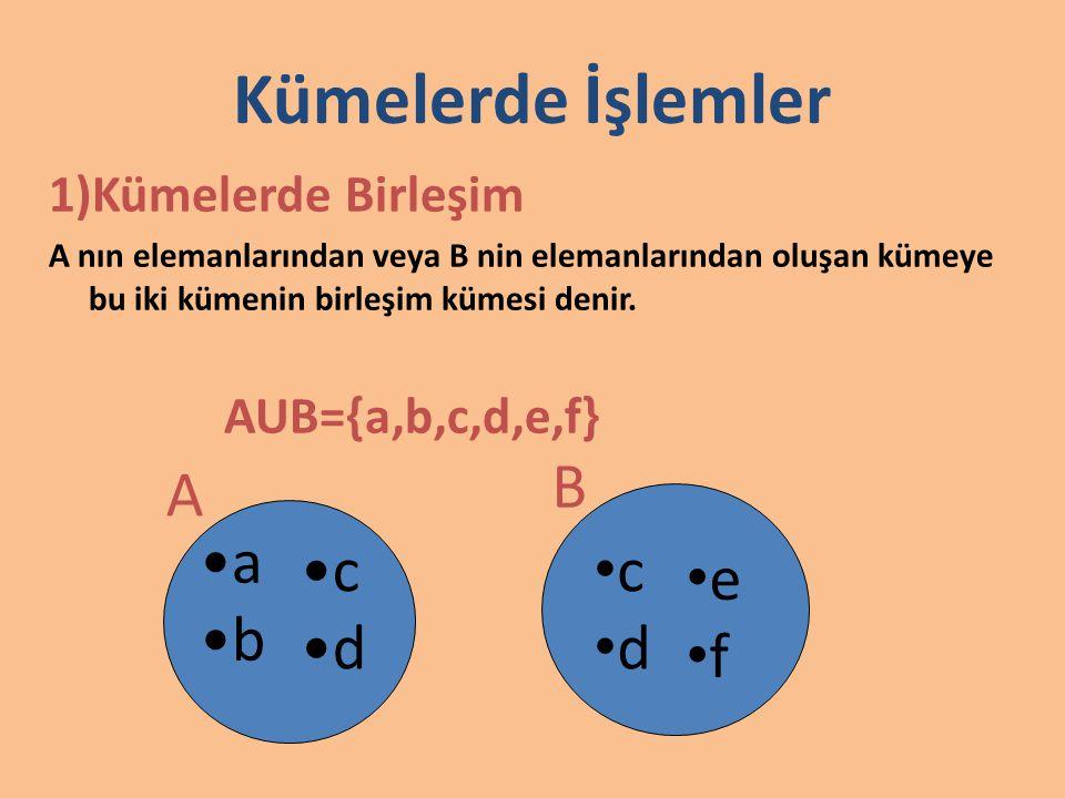 2)Kümelerde kesişim A ve B kümesinin ortak elemanlarından oluşan kümeye A ile B nin kesişim kümesi denir.