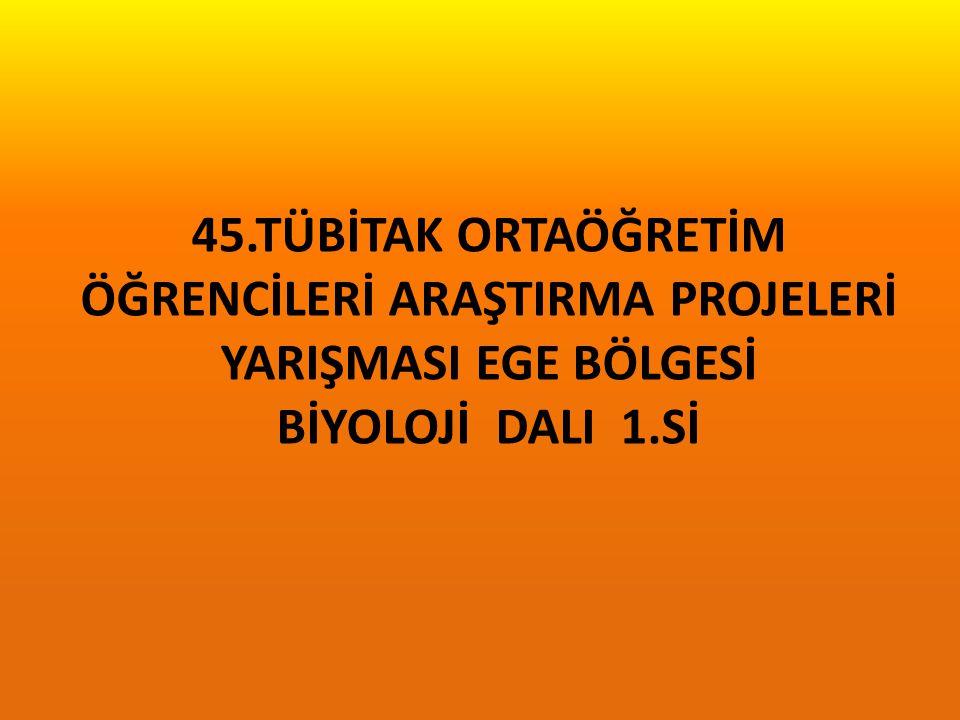 45.TÜBİTAK ORTAÖĞRETİM ÖĞRENCİLERİ ARAŞTIRMA PROJELERİ YARIŞMASI EGE BÖLGESİ BİYOLOJİ DALI 1.Sİ