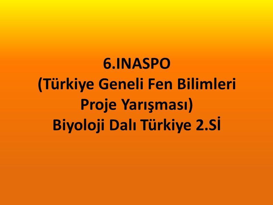 6.INASPO (Türkiye Geneli Fen Bilimleri Proje Yarışması) Biyoloji Dalı Türkiye 2.Sİ