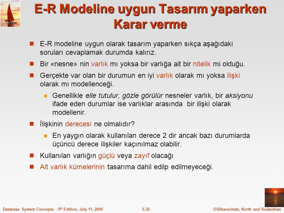 ©Silberschatz, Korth and Sudarshan6.36Database System Concepts - 5 th Edition, July 11, 2005 E-R Modeline uygun Tasarım yaparken Karar verme E-R model