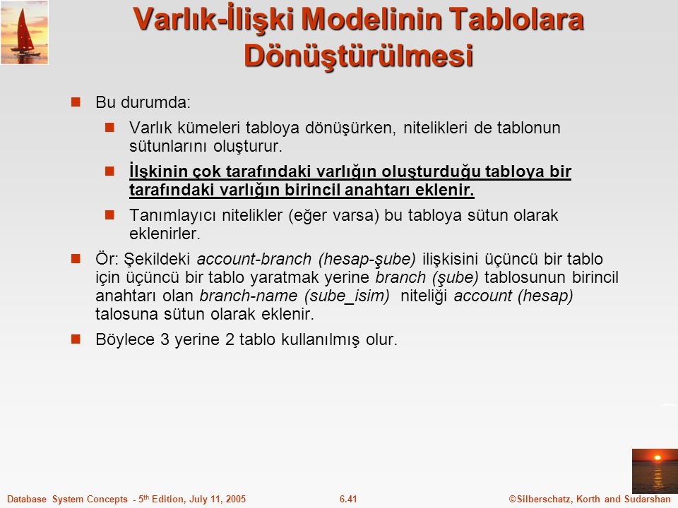 ©Silberschatz, Korth and Sudarshan6.41Database System Concepts - 5 th Edition, July 11, 2005 Varlık-İlişki Modelinin Tablolara Dönüştürülmesi Bu durum