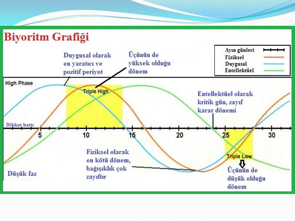 Biyoritm çizelgenizde kırmızı çizgi fiziksel durumunuzu, açık mavi çizgi duygusal durumunuzu ve yeşil çizgi entelektüel (zihinsel) durumunuzu göstermektedir.
