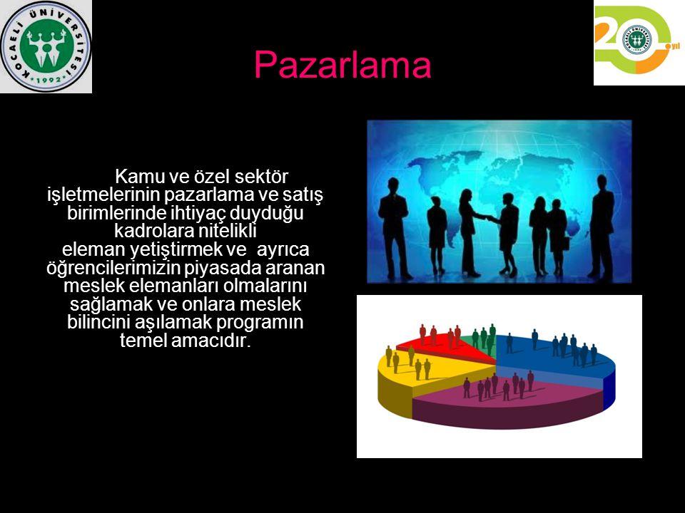 Pazarlama Kamu ve özel sektör işletmelerinin pazarlama ve satış birimlerinde ihtiyaç duyduğu kadrolara nitelikli eleman yetiştirmek ve ayrıca öğrencil