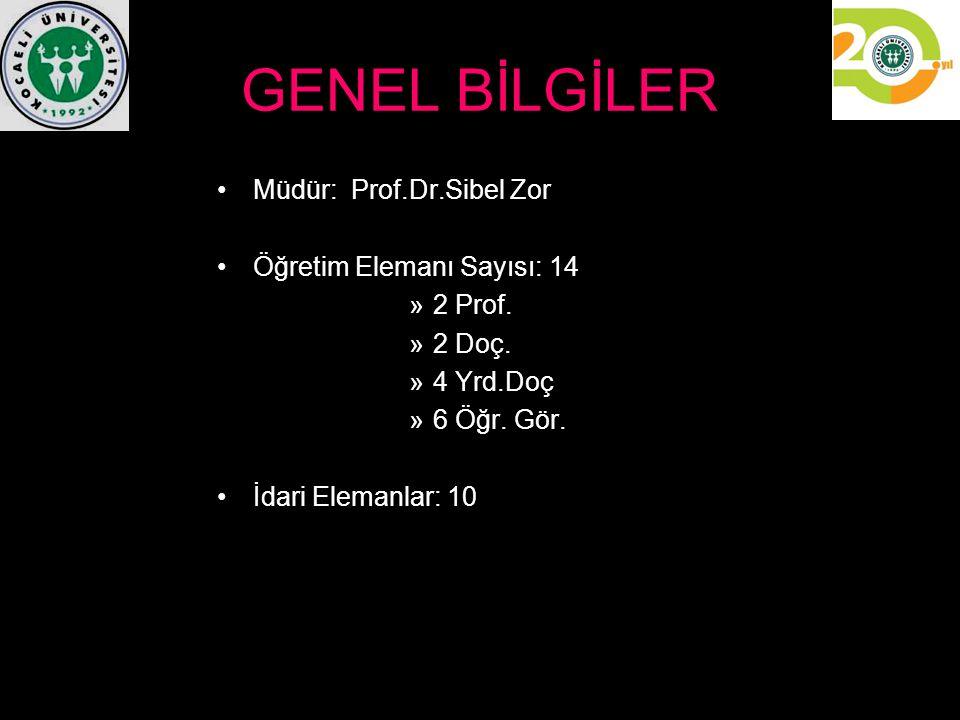 GENEL BİLGİLER Müdür: Prof.Dr.Sibel Zor Öğretim Elemanı Sayısı: 14 »2 Prof. »2 Doç. »4 Yrd.Doç »6 Öğr. Gör. İdari Elemanlar: 10