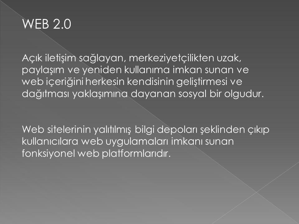 WEB 2.0 Açık iletişim sağlayan, merkeziyetçilikten uzak, paylaşım ve yeniden kullanıma imkan sunan ve web içeriğini herkesin kendisinin geliştirmesi v
