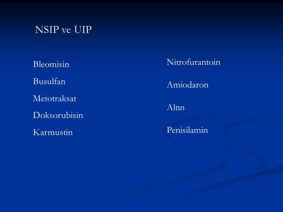 NSIP ve UIP Bleomisin Busulfan Metotraksat Doksorubisin Karmustin Nitrofurantoin Amiodaron Altın Penisilamin