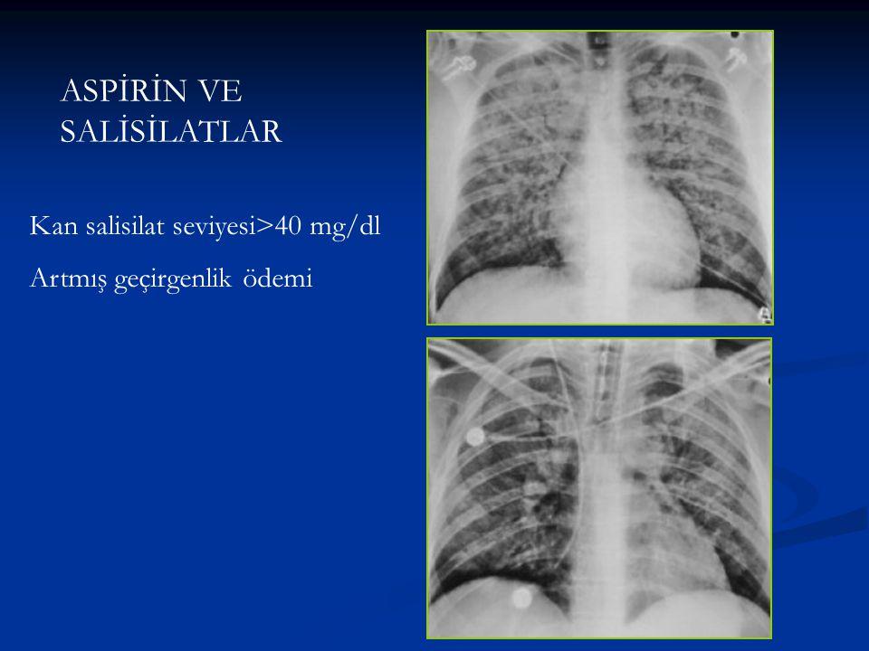 ASPİRİN VE SALİSİLATLAR Kan salisilat seviyesi>40 mg/dl Artmış geçirgenlik ödemi