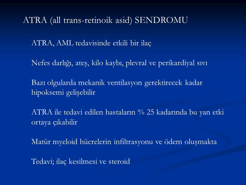 ATRA (all trans-retinoik asid) SENDROMU ATRA, AML tedavisinde etkili bir ilaç Nefes darlığı, ateş, kilo kaybı, plevral ve perikardiyal sıvı Bazı olgul