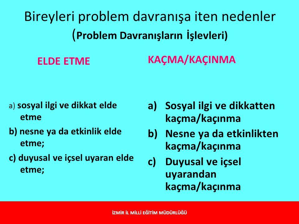 Bireyleri problem davranışa iten nedenler ( Problem Davranışların İşlevleri) ELDE ETME a) sosyal ilgi ve dikkat elde etme b) nesne ya da etkinlik elde