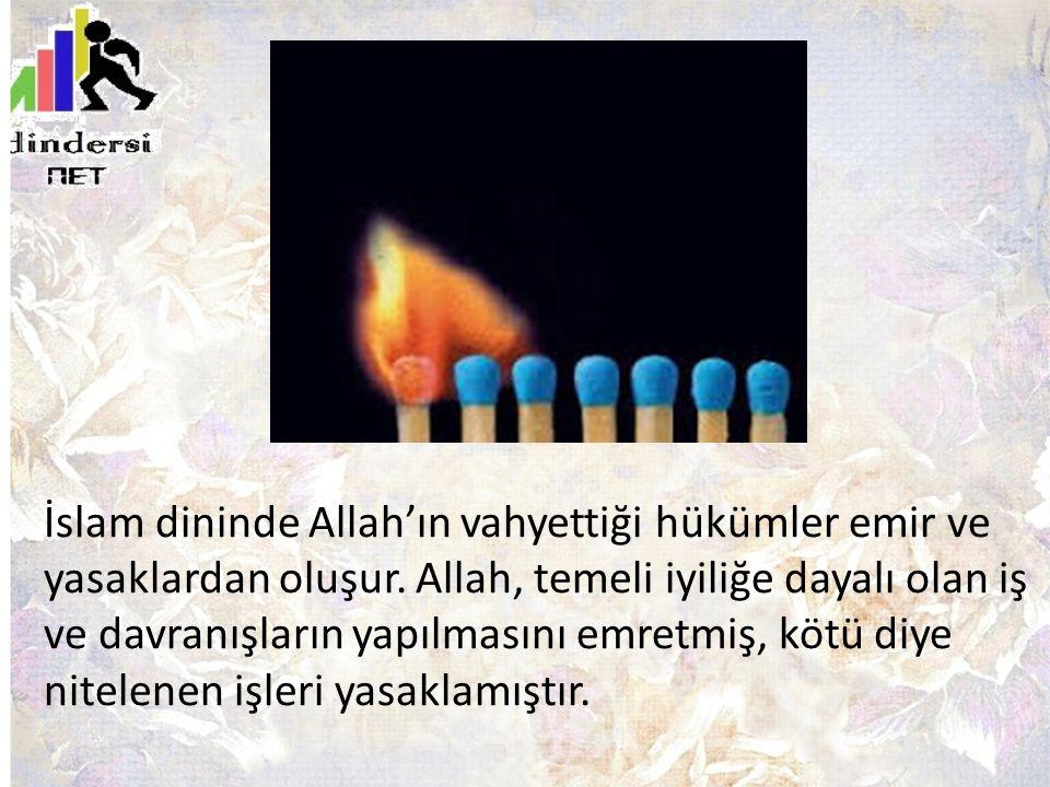 İslam dininde Allah'ın vahyettiği hükümler emir ve yasaklardan oluşur. Allah, temeli iyiliğe dayalı olan iş ve davranışların yapılmasını emretmiş, köt