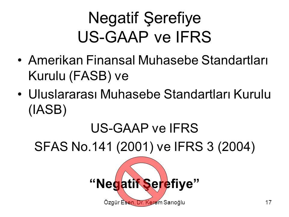 Özgür Esen, Dr. Kerem Sarıoğlu17 Negatif Şerefiye US-GAAP ve IFRS Amerikan Finansal Muhasebe Standartları Kurulu (FASB) ve Uluslararası Muhasebe Stand