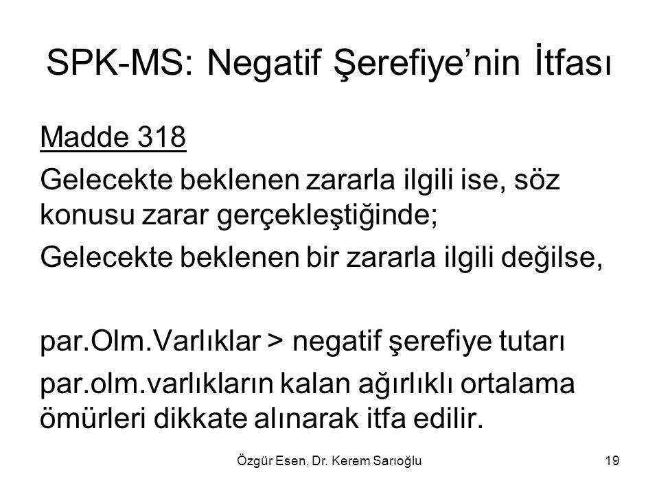 Özgür Esen, Dr. Kerem Sarıoğlu19 SPK-MS: Negatif Şerefiye'nin İtfası Madde 318 Gelecekte beklenen zararla ilgili ise, söz konusu zarar gerçekleştiğind