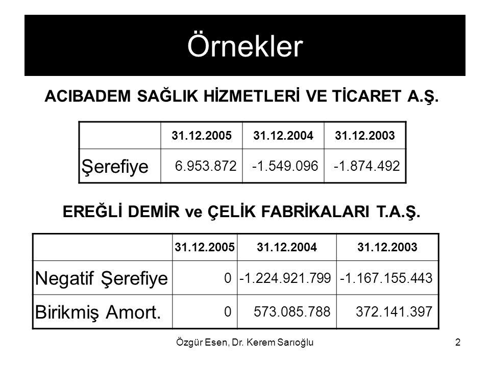 Özgür Esen, Dr. Kerem Sarıoğlu2 Örnekler ACIBADEM SAĞLIK HİZMETLERİ VE TİCARET A.Ş. 31.12.200531.12.200431.12.2003 Şerefiye 6.953.872-1.549.096-1.874.
