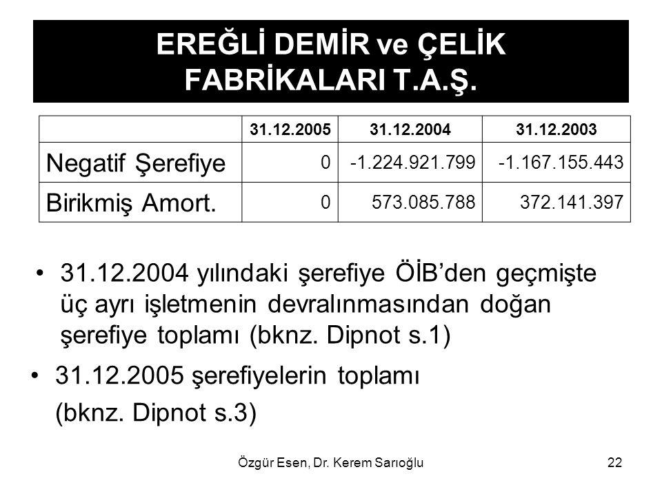 Özgür Esen, Dr. Kerem Sarıoğlu22 EREĞLİ DEMİR ve ÇELİK FABRİKALARI T.A.Ş. 31.12.2004 yılındaki şerefiye ÖİB'den geçmişte üç ayrı işletmenin devralınma