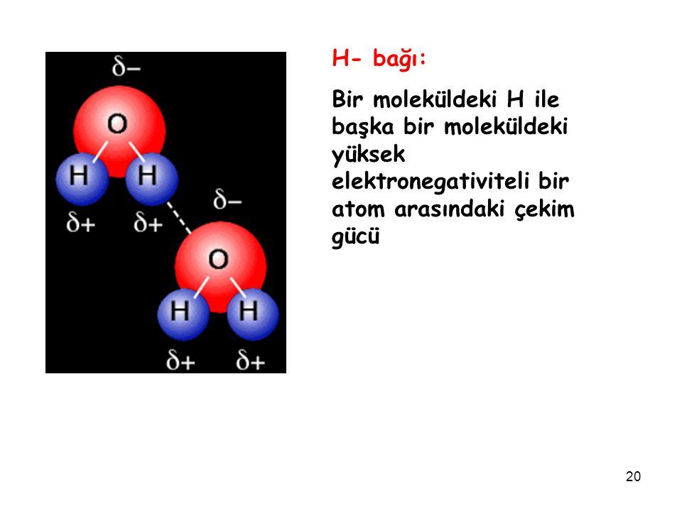20 H- bağı: Bir moleküldeki H ile başka bir moleküldeki yüksek elektronegativiteli bir atom arasındaki çekim gücü
