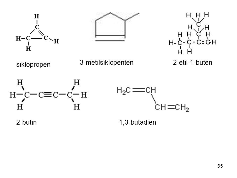 35 siklopropen 3-metilsiklopenten 2-etil-1-buten 2-butin1,3-butadien