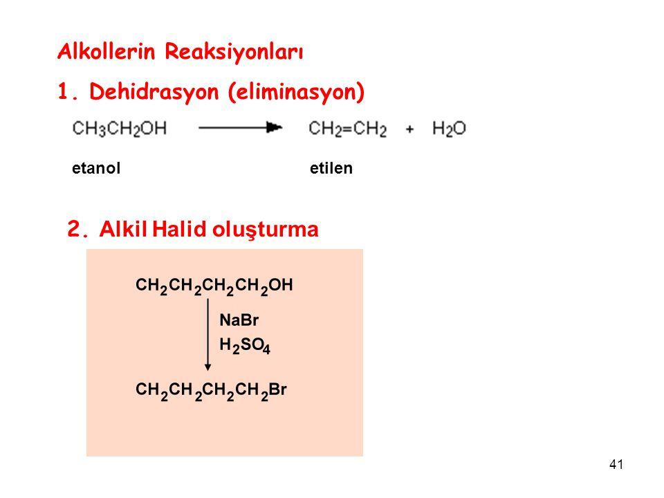 41 Alkollerin Reaksiyonları 1. Dehidrasyon (eliminasyon) etanol etilen 2. Alkil Halid oluşturma