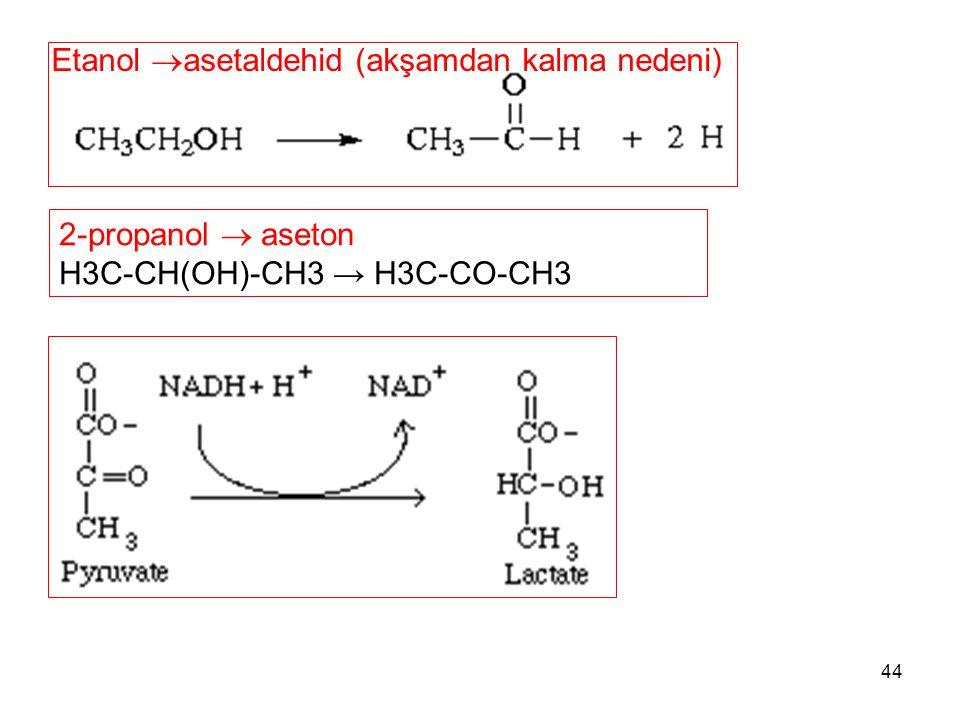 44 Etanol  asetaldehid (akşamdan kalma nedeni) 2-propanol  aseton H3C-CH(OH)-CH3 → H3C-CO-CH3