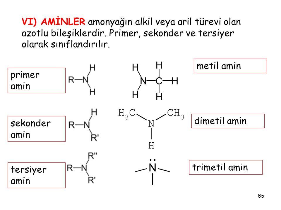 65 VI) AMİNLER amonyağın alkil veya aril türevi olan azotlu bileşiklerdir. Primer, sekonder ve tersiyer olarak sınıflandırılır. metil amin primer amin