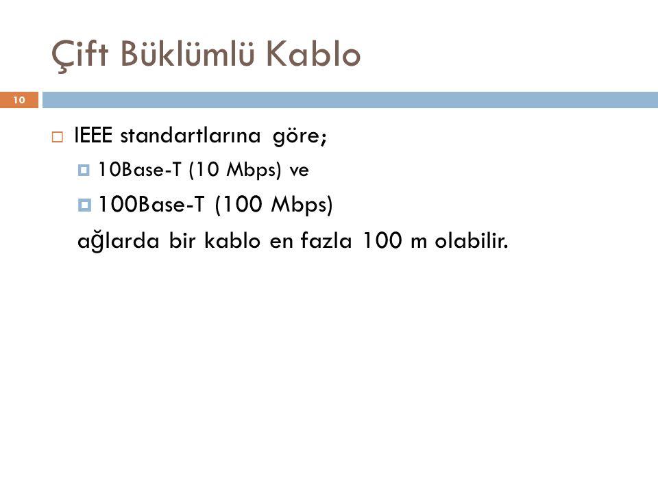 Çift Büklümlü Kablo  IEEE standartlarına göre;  10Base-T (10 Mbps) ve  100Base-T (100 Mbps) a ğ larda bir kablo en fazla 100 m olabilir. 10