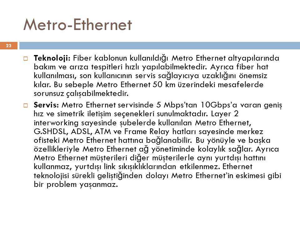 Metro-Ethernet  Teknoloji: Fiber kablonun kullanıldı ğ ı Metro Ethernet altyapılarında bakım ve arıza tespitleri hızlı yapılabilmektedir. Ayrıca fibe