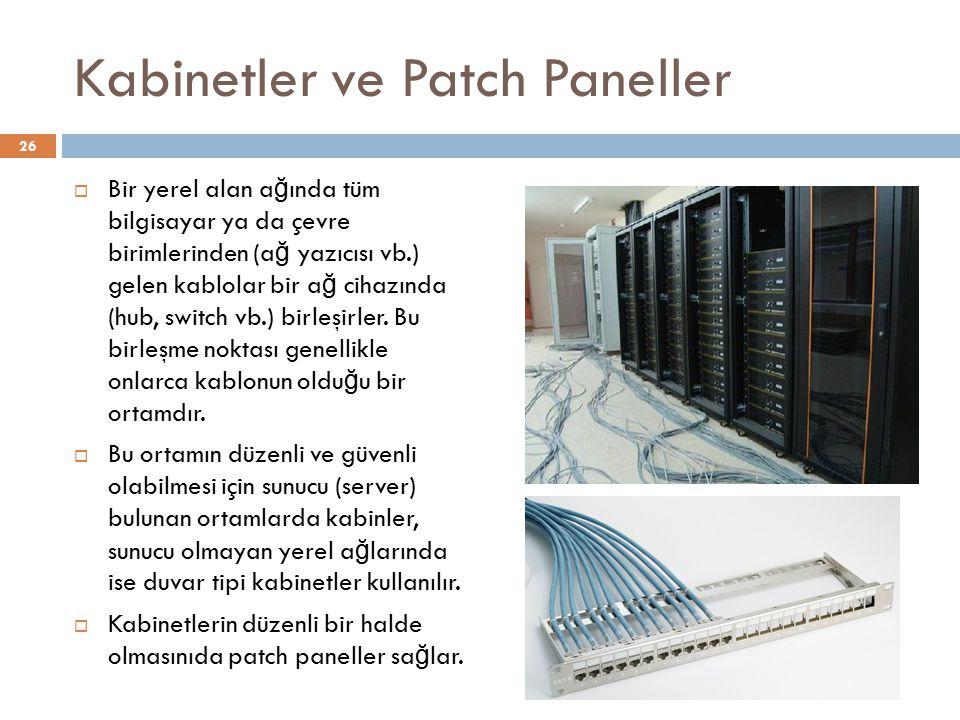 Kabinetler ve Patch Paneller  Bir yerel alan a ğ ında tüm bilgisayar ya da çevre birimlerinden (a ğ yazıcısı vb.) gelen kablolar bir a ğ cihazında (h