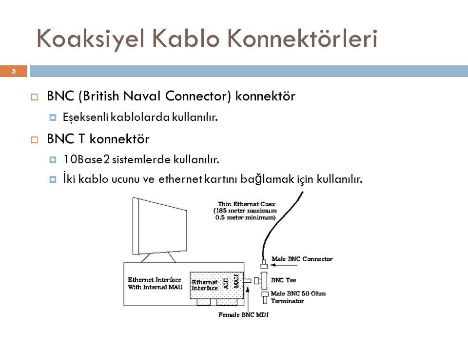 Koaksiyel Kablo Konnektörleri  BNC (British Naval Connector) konnektör  Eşeksenli kablolarda kullanılır.  BNC T konnektör  10Base2 sistemlerde kul