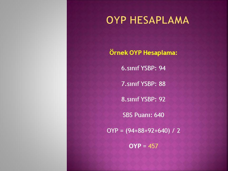 Örnek OYP Hesaplama: 6.sınıf YSBP: 94 7.sınıf YSBP: 88 8.sınıf YSBP: 92 SBS Puanı: 640 OYP = (94+88+92+640) / 2 OYP = 457