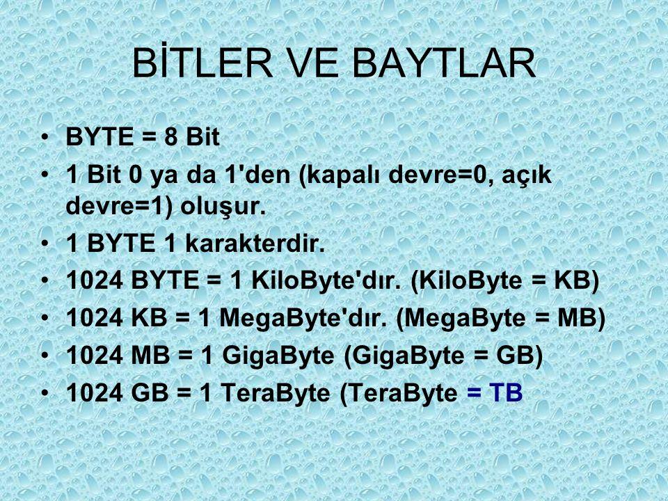 BİTLER VE BAYTLAR Sekiz bitlik seriler halinde saklanan bilgisayar verisi parçalarına bayt denir Bit Bayt B harfi B Harfi bayta 01000010 olarak çevrilir.