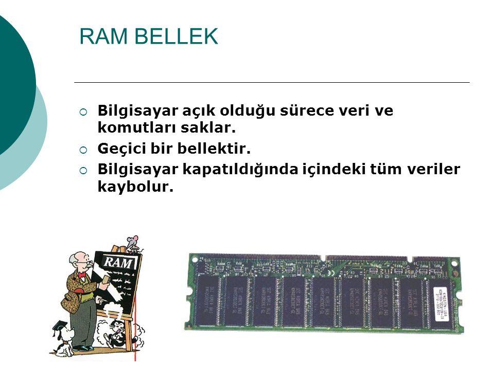 BELLEK Bilgisayarın bilgilerinin saklandığı yere bellek denir.
