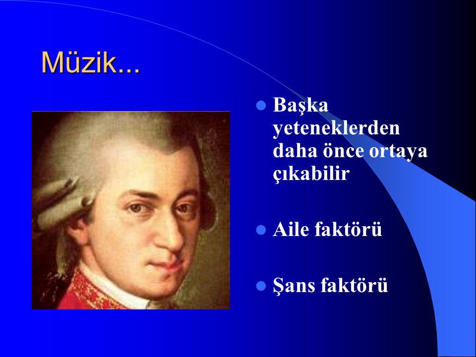 Müzik... Başka yeteneklerden daha önce ortaya çıkabilir Aile faktörü Şans faktörü