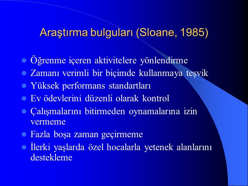 Araştırma bulguları (Sloane, 1985) Öğrenme içeren aktivitelere yönlendirme Zamanı verimli bir biçimde kullanmaya teşvik Yüksek performans standartları