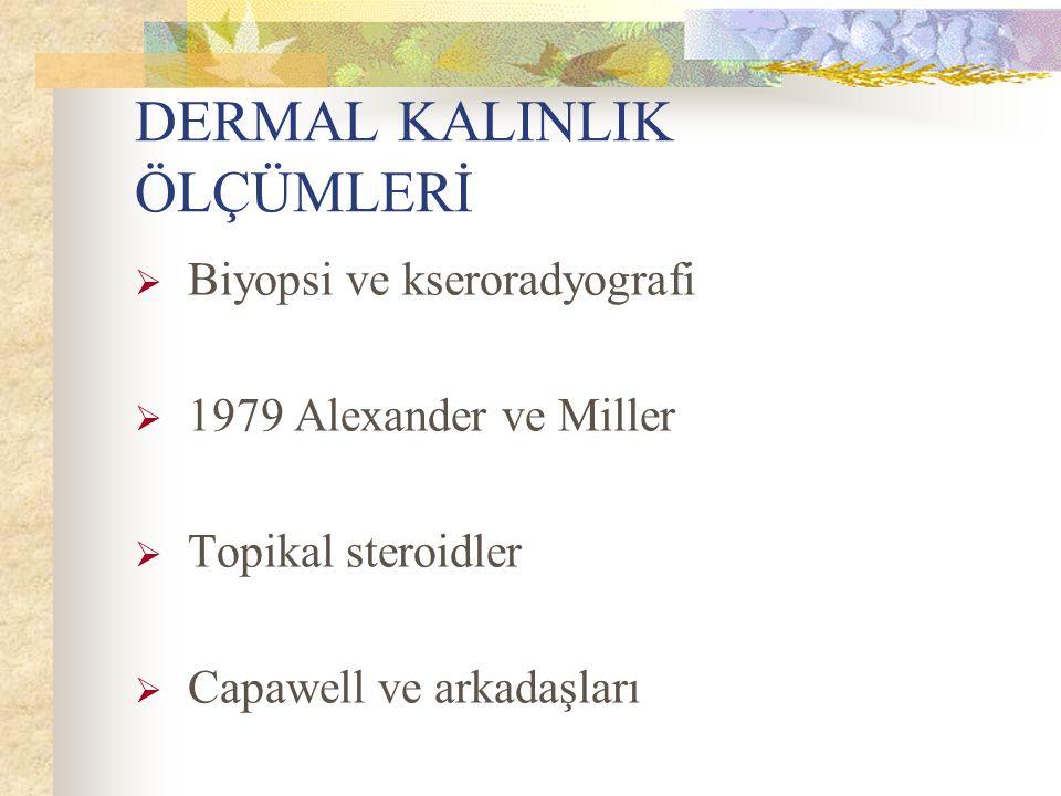 DERMAL KALINLIK ÖLÇÜMLERİ  Biyopsi ve kseroradyografi  1979 Alexander ve Miller  Topikal steroidler  Capawell ve arkadaşları