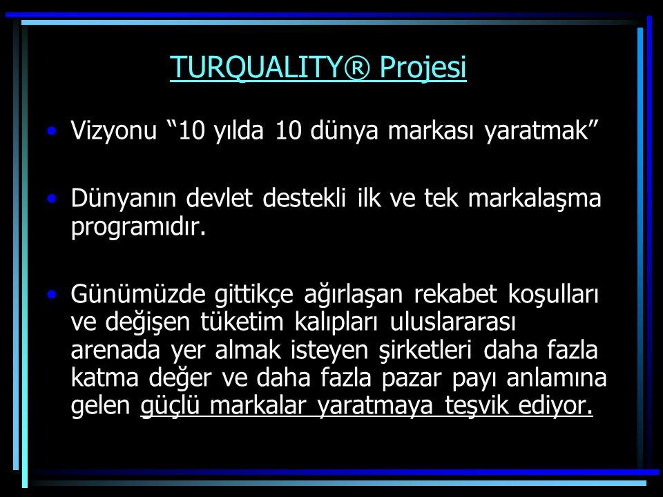 """TURQUALITY® Projesi Vizyonu """"10 yılda 10 dünya markası yaratmak"""" Dünyanın devlet destekli ilk ve tek markalaşma programıdır. Günümüzde gittikçe ağırla"""