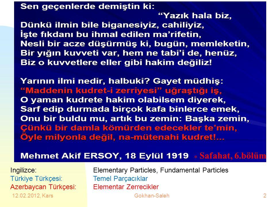 Y Safahat, 6.bölüm Ingilizce: Elementary Particles, Fundamental Particles Türkiye Türkçesi: Temel Parçacıklar Azerbaycan Türkçesi: Elementar Zerrecikl