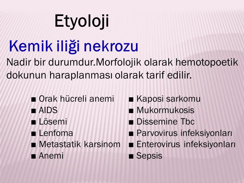 Kemik iliği nekrozu Nadir bir durumdur.Morfolojik olarak hemotopoetik dokunun haraplanması olarak tarif edilir. ■ Orak hücreli anemi ■ Kaposi sarkomu