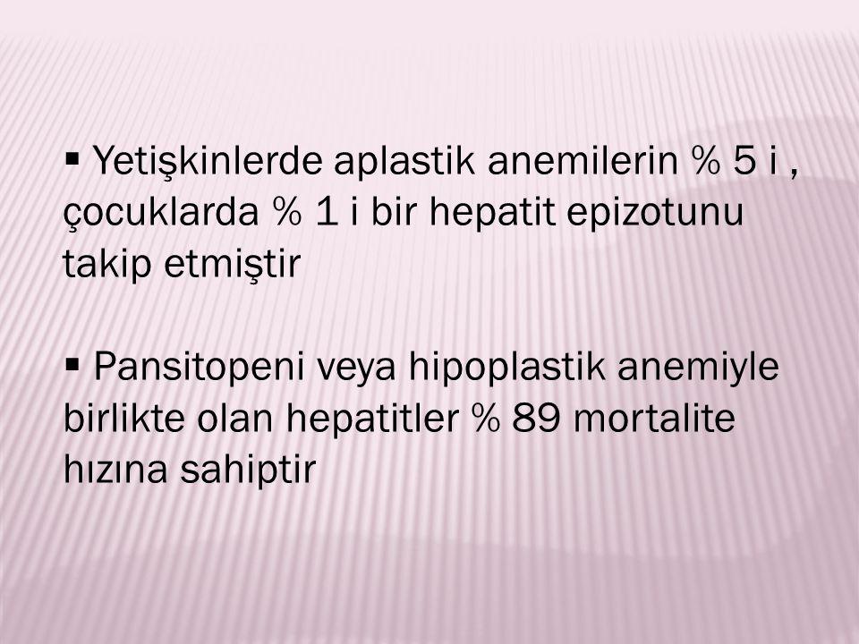  Yetişkinlerde aplastik anemilerin % 5 i, çocuklarda % 1 i bir hepatit epizotunu takip etmiştir  Pansitopeni veya hipoplastik anemiyle birlikte olan