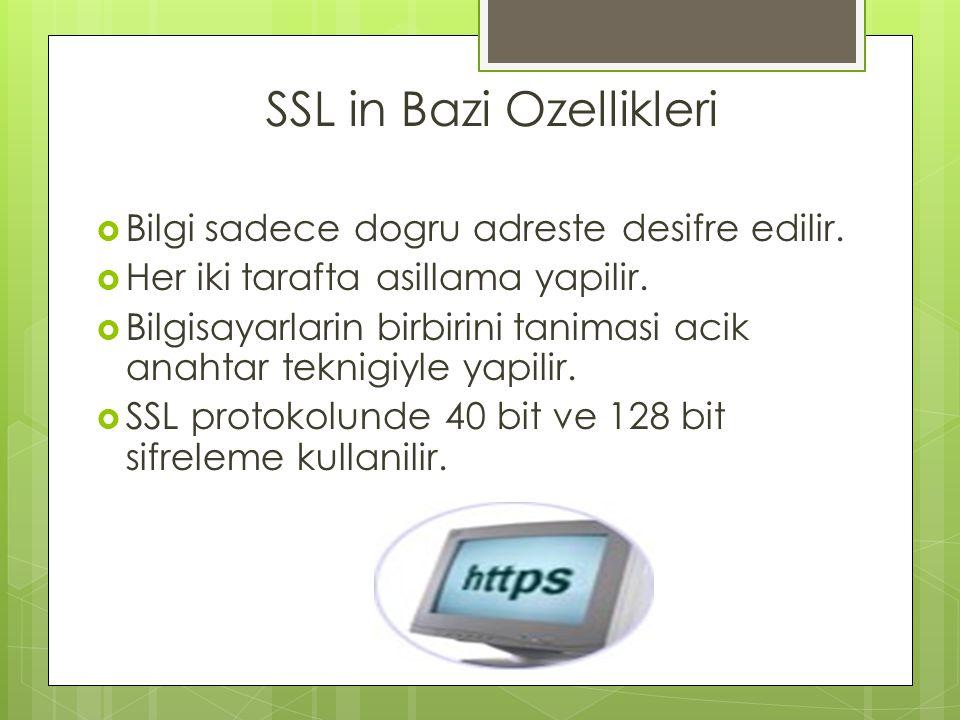 SSL in Bazi Ozellikleri  Bilgi sadece dogru adreste desifre edilir.