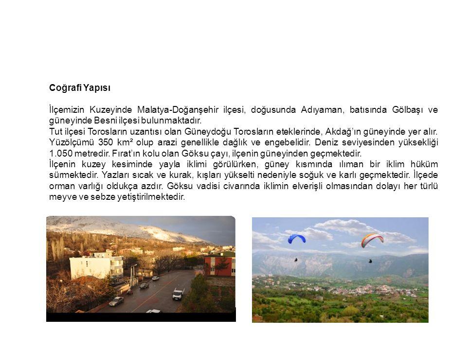 Coğrafi Yapısı İlçemizin Kuzeyinde Malatya-Doğanşehir ilçesi, doğusunda Adıyaman, batısında Gölbaşı ve güneyinde Besni ilçesi bulunmaktadır. Tut ilçes