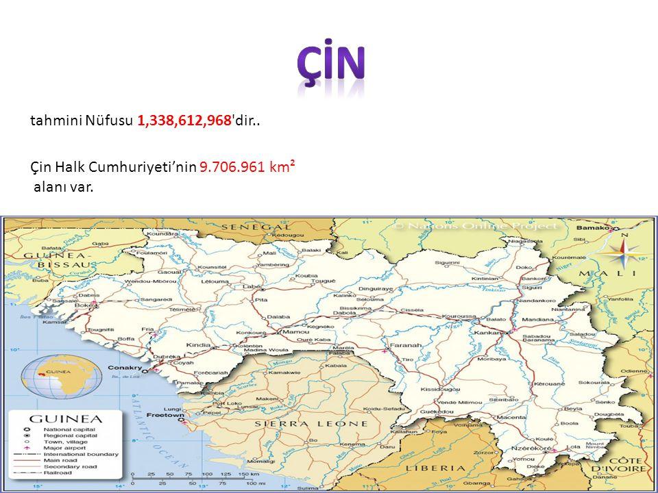 tahmini Nüfusu 1,338,612,968 dir.. Çin Halk Cumhuriyeti'nin 9.706.961 km² alanı var.