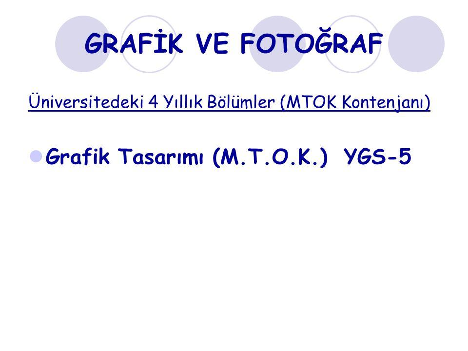 GRAFİK VE FOTOĞRAF Üniversitedeki 4 Yıllık Bölümler (MTOK Kontenjanı) Grafik Tasarımı (M.T.O.K.) YGS-5