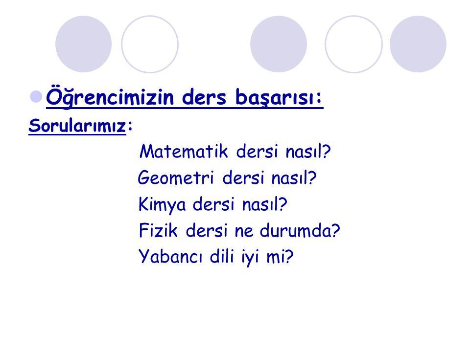 Öğrencimizin ders başarısı: Sorularımız: Matematik dersi nasıl? Geometri dersi nasıl? Kimya dersi nasıl? Fizik dersi ne durumda? Yabancı dili iyi mi?