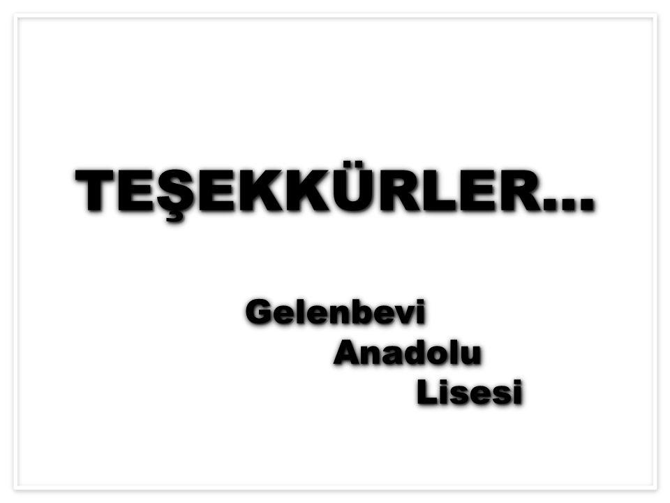 TEŞEKKÜRLER… Gelenbevi Anadolu Lisesi